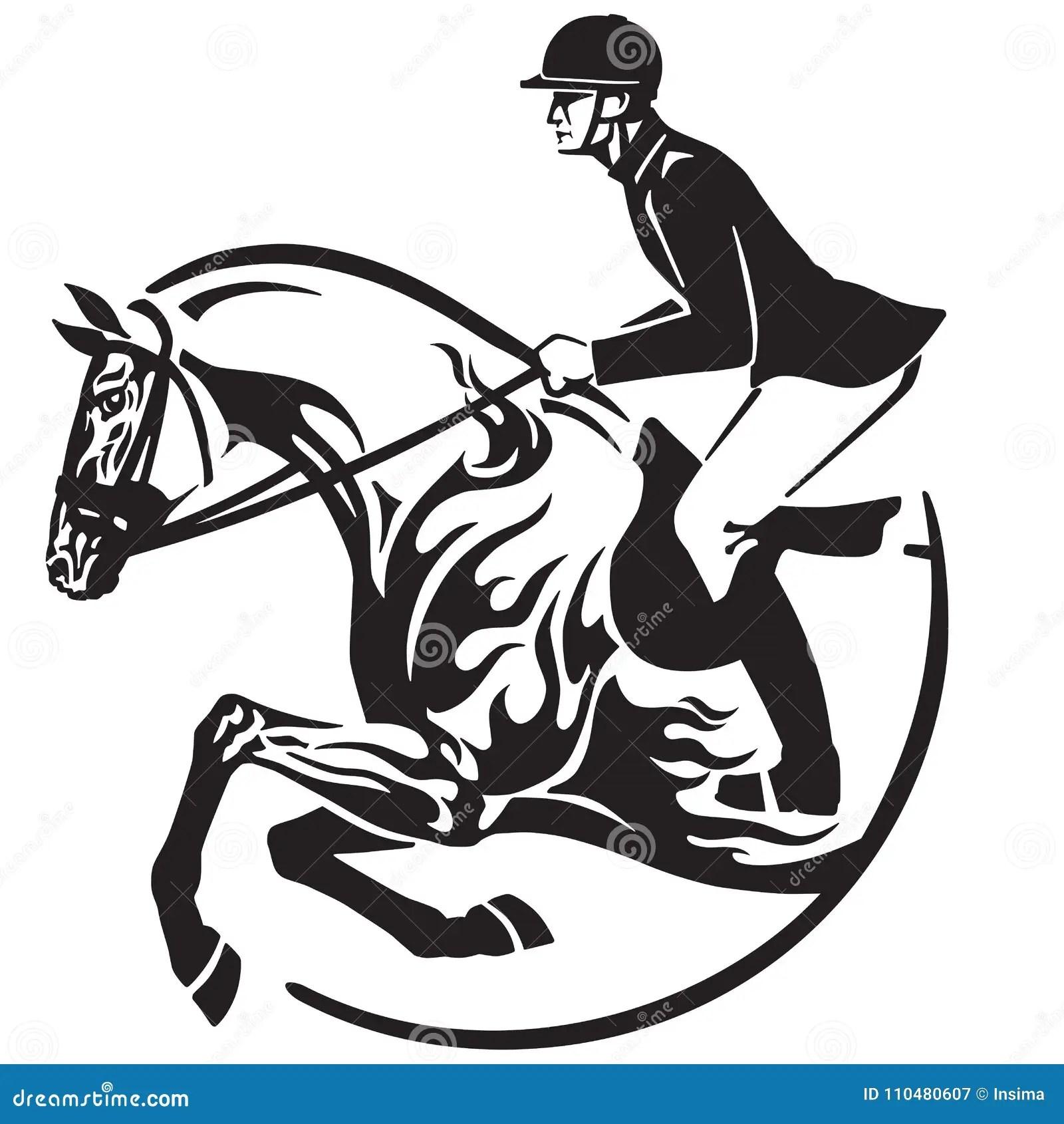 Horse Show Jumping Emblem Equestrian Sport Stock Vector