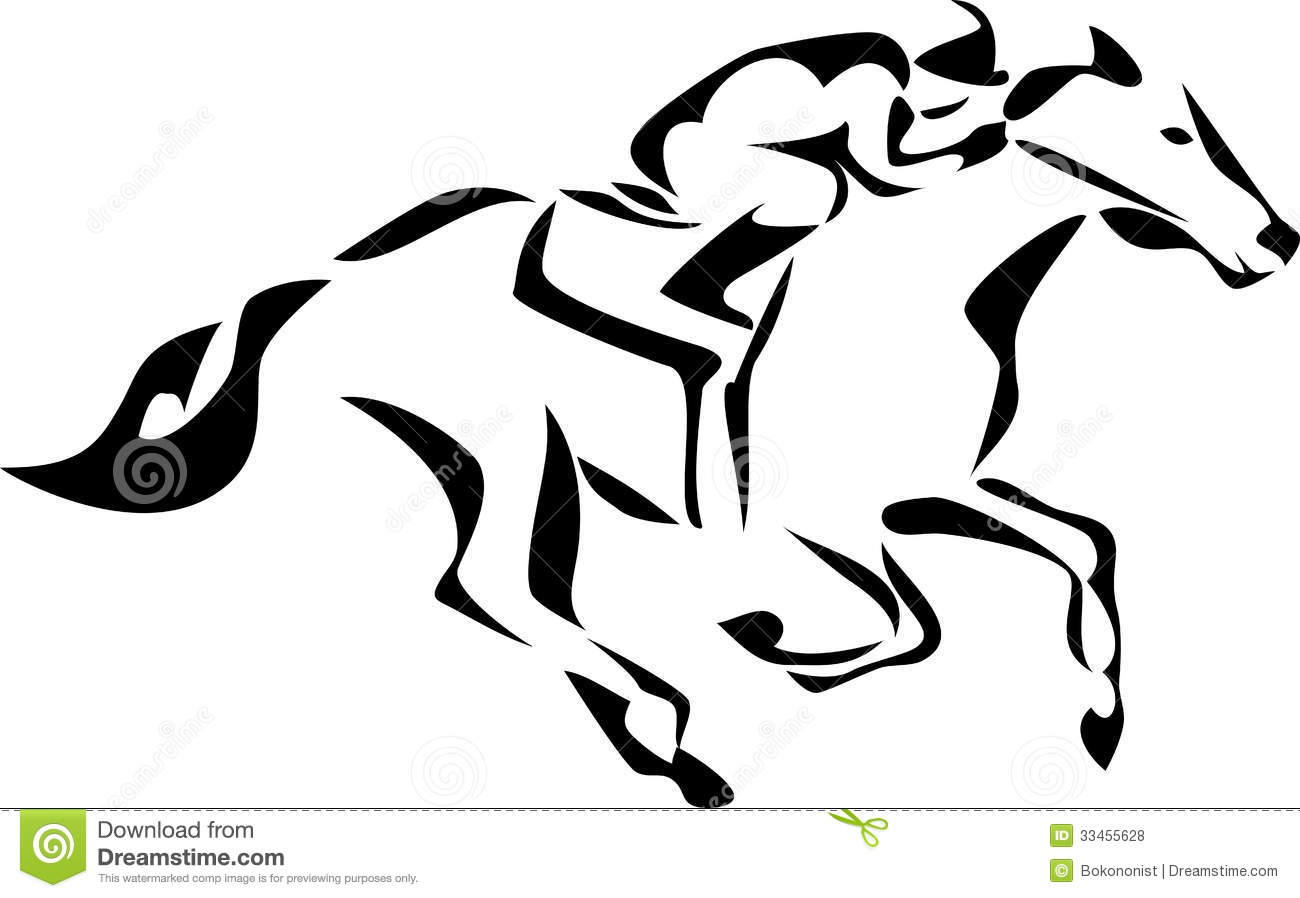 Horse Racing Clip Art Black And White Pictures To Pin On
