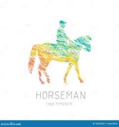 horseman on sports horse silhouette logo design template logotype emblem icon creative colorful brush [ 1300 x 1390 Pixel ]