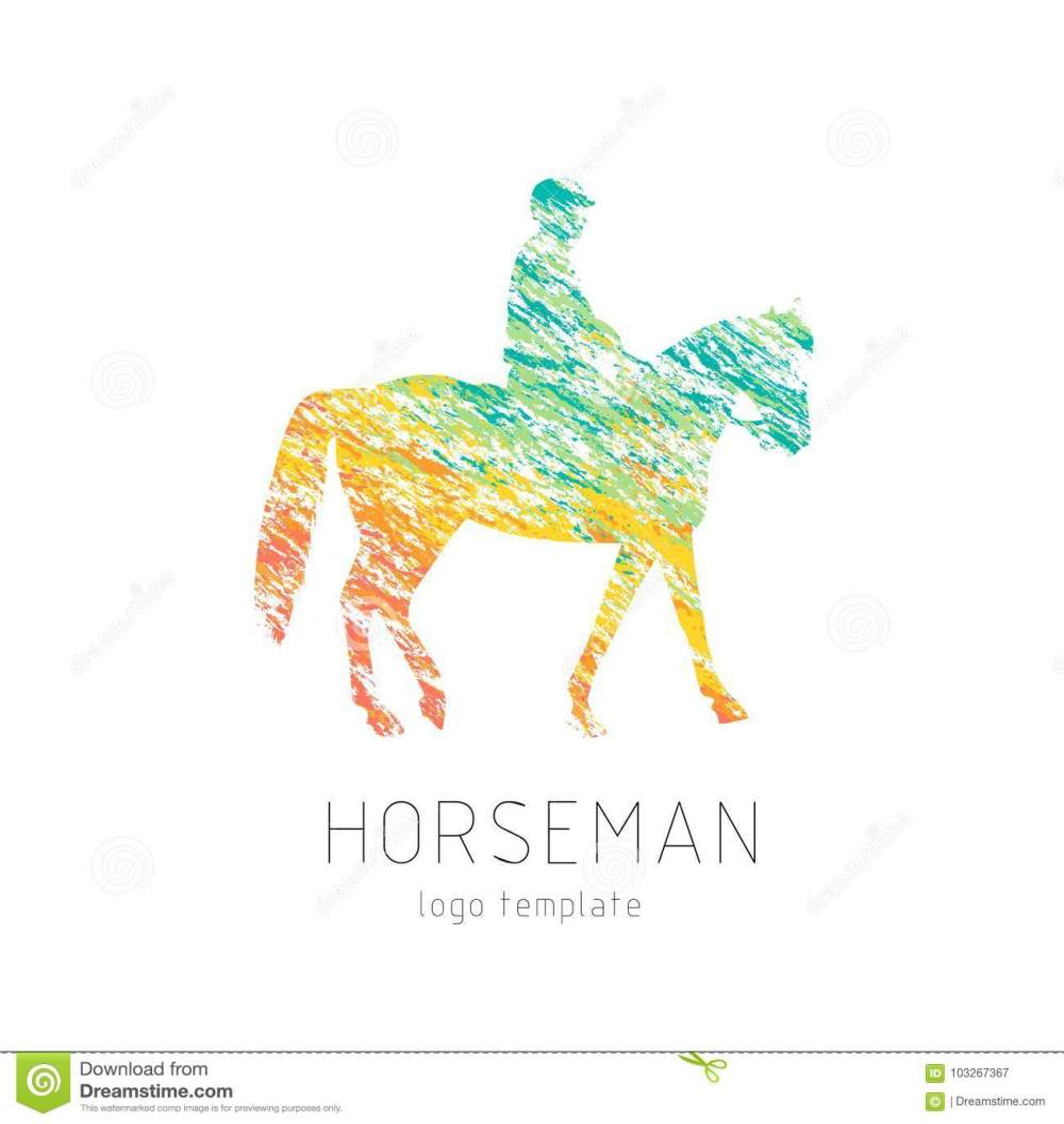 medium resolution of horseman on sports horse silhouette logo design template logotype emblem icon creative colorful brush