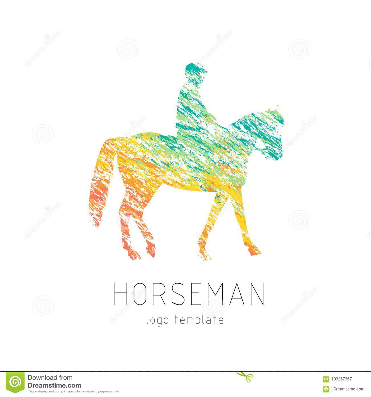 hight resolution of horseman on sports horse silhouette logo design template logotype emblem icon creative colorful brush