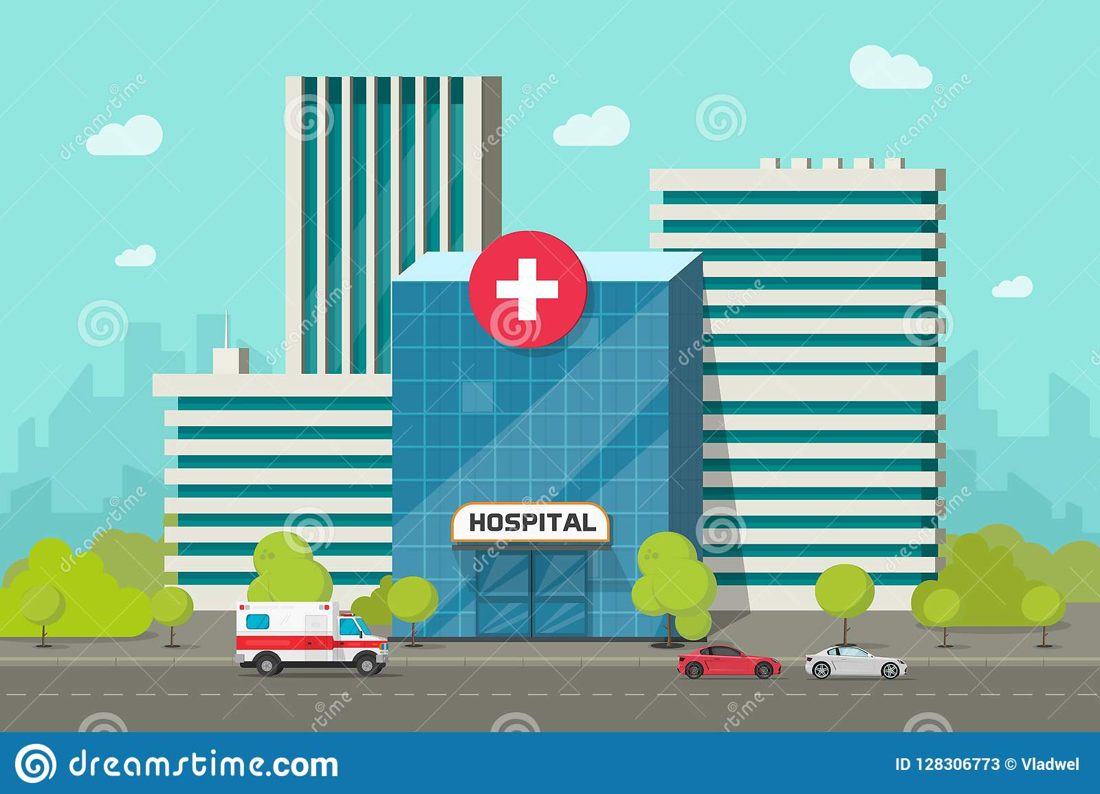 hight resolution of hospital building vector illustration flat cartoon modern medical center or clinic on city street clipart