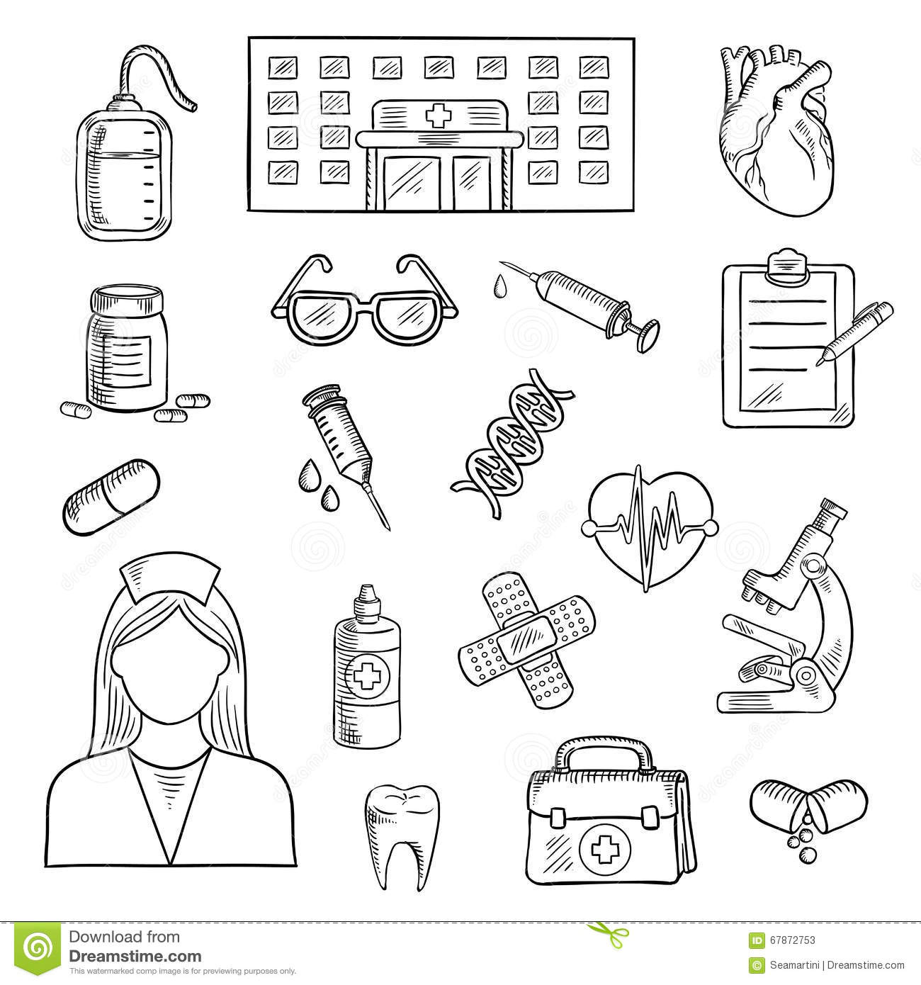 Hospital And Medicine Sketch Objects Stock Vector
