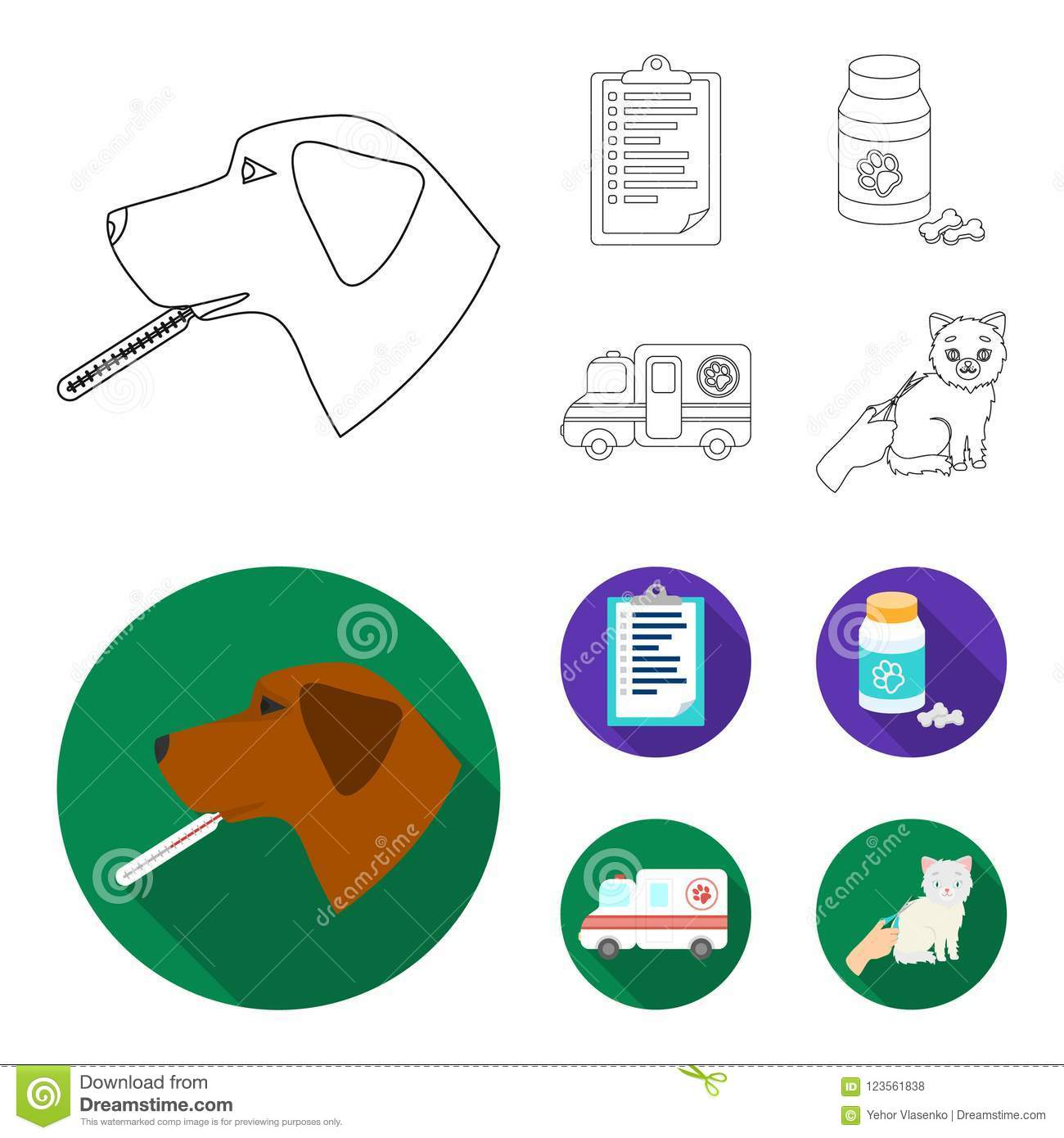 hight resolution of hospital veterinarian dog thermometer vet clinic set collection icons in outline flat style vector symbol stock illustration