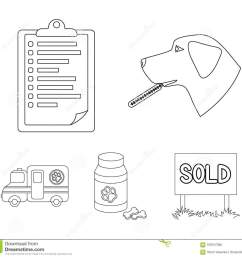 hospital veterinarian dog thermometer vet clinic set collection icons in outline style [ 1300 x 1228 Pixel ]