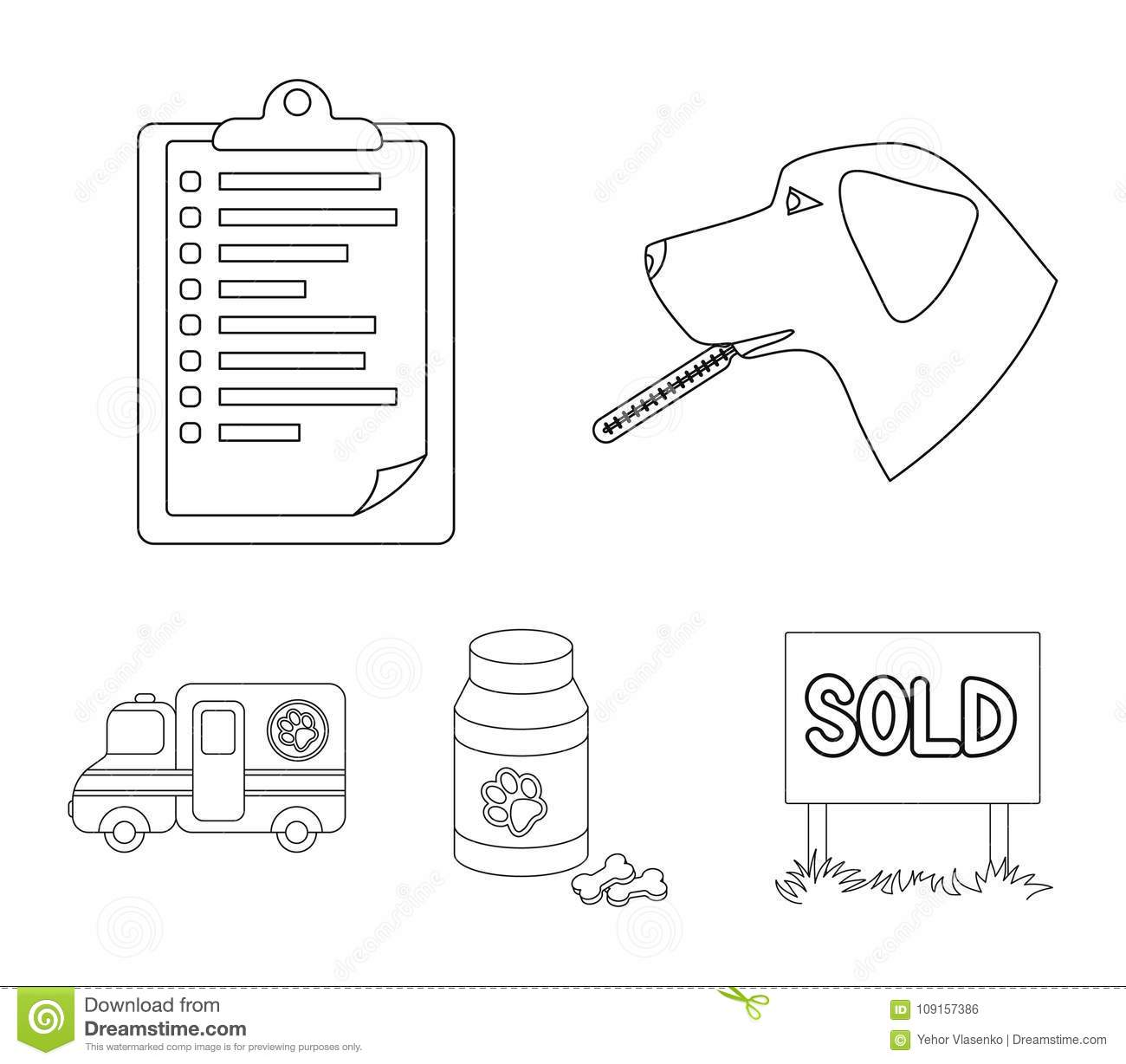 hight resolution of hospital veterinarian dog thermometer vet clinic set collection icons in outline style