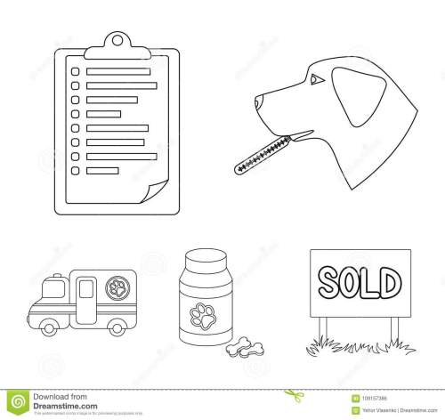 small resolution of hospital veterinarian dog thermometer vet clinic set collection icons in outline style