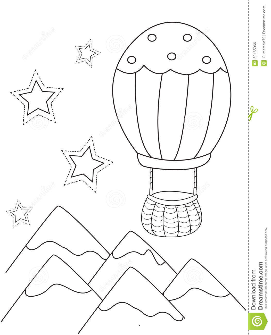 Hot Air Balloon Coloring Page Stock Illustration