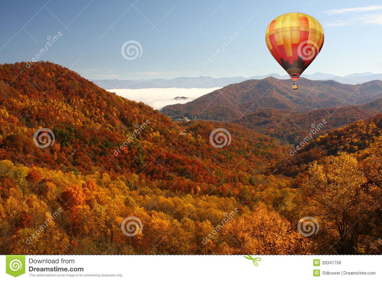 Gatlinburg In The Fall Wallpaper Hot Air Balloon Over Smokey Mountains In The Fall Royalty