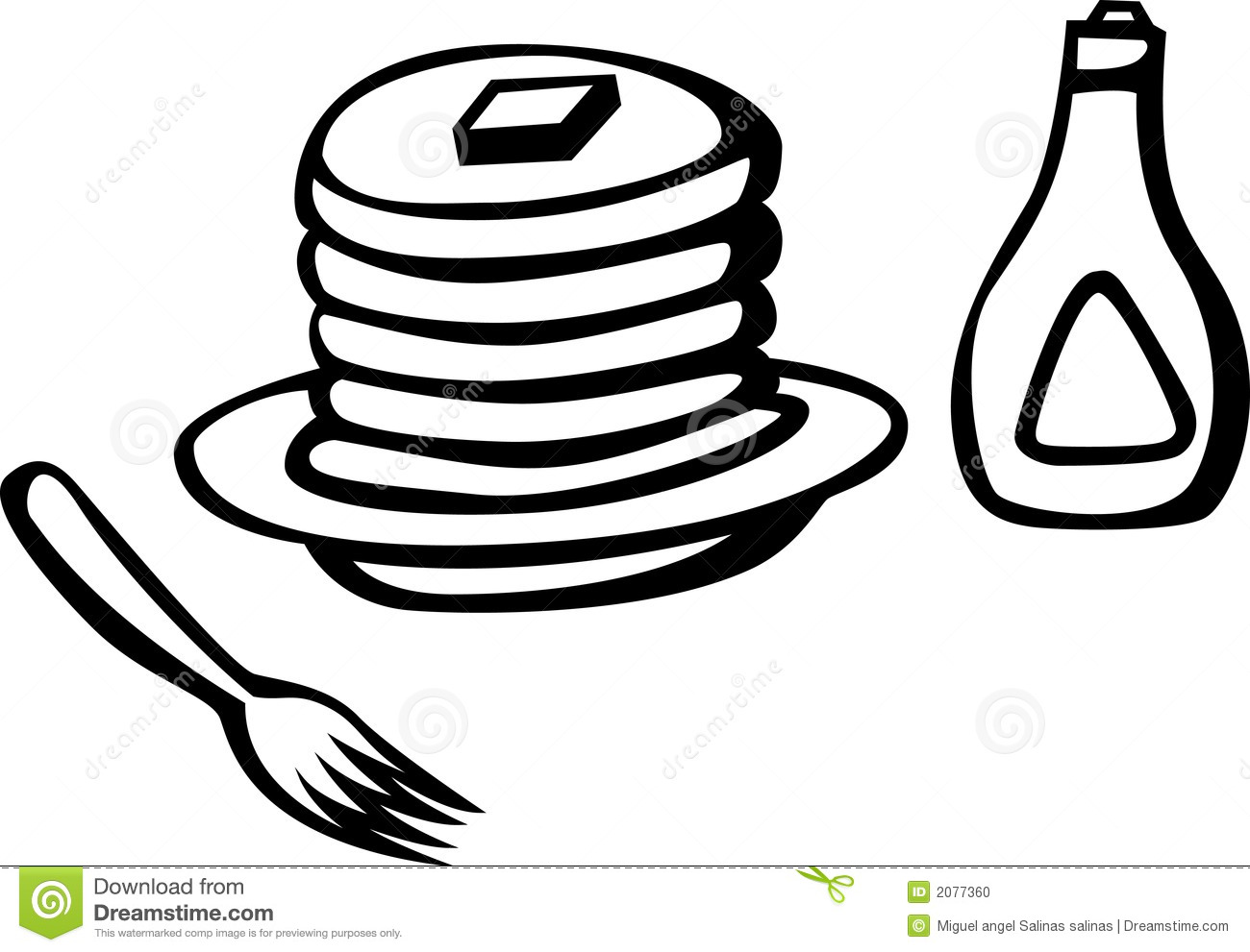 Hot Cakes With Syrup And Fork Vector Illustration Stock