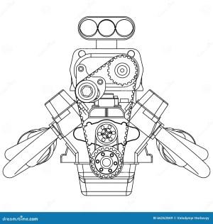 Hot Rod Engine stock vector Illustration of design, pipe