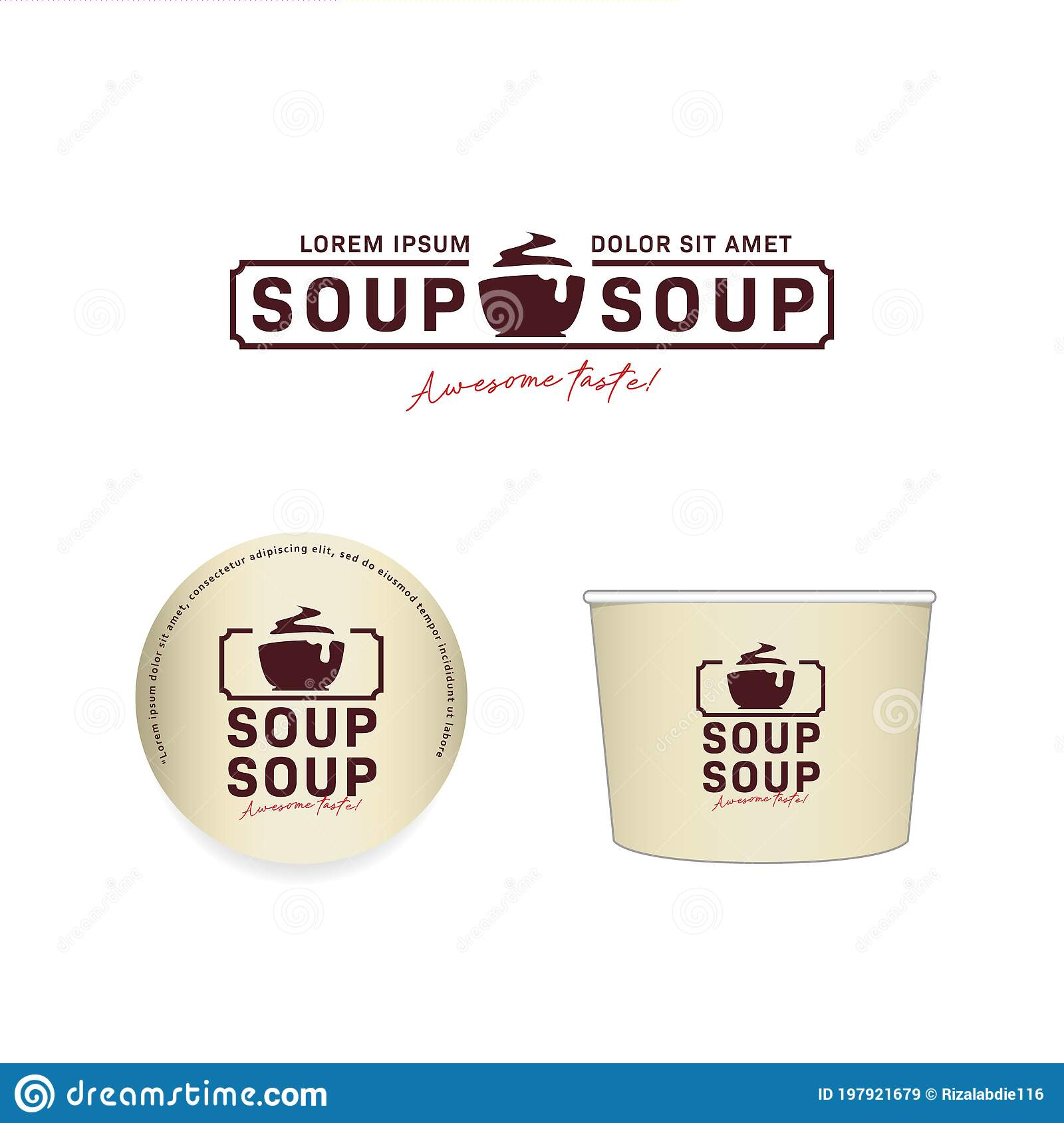 If you're looking for a mockup to test your disposable soup bowl designs, don't dare to miss this useful soup bowl psd mockup. Hot Soup Bowl Logo Icon Set With Paper Bowl Mockup Design In Vector Stock Vector Illustration Of Beef Yummy 197921679