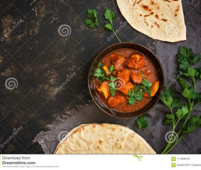Hot Spicy Chicken Tikka Masala In Bowl A Popular Indian Spicy Dish Top View