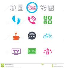 Hotel Apartment Services Icons. Coffee Sign. Stock Vector