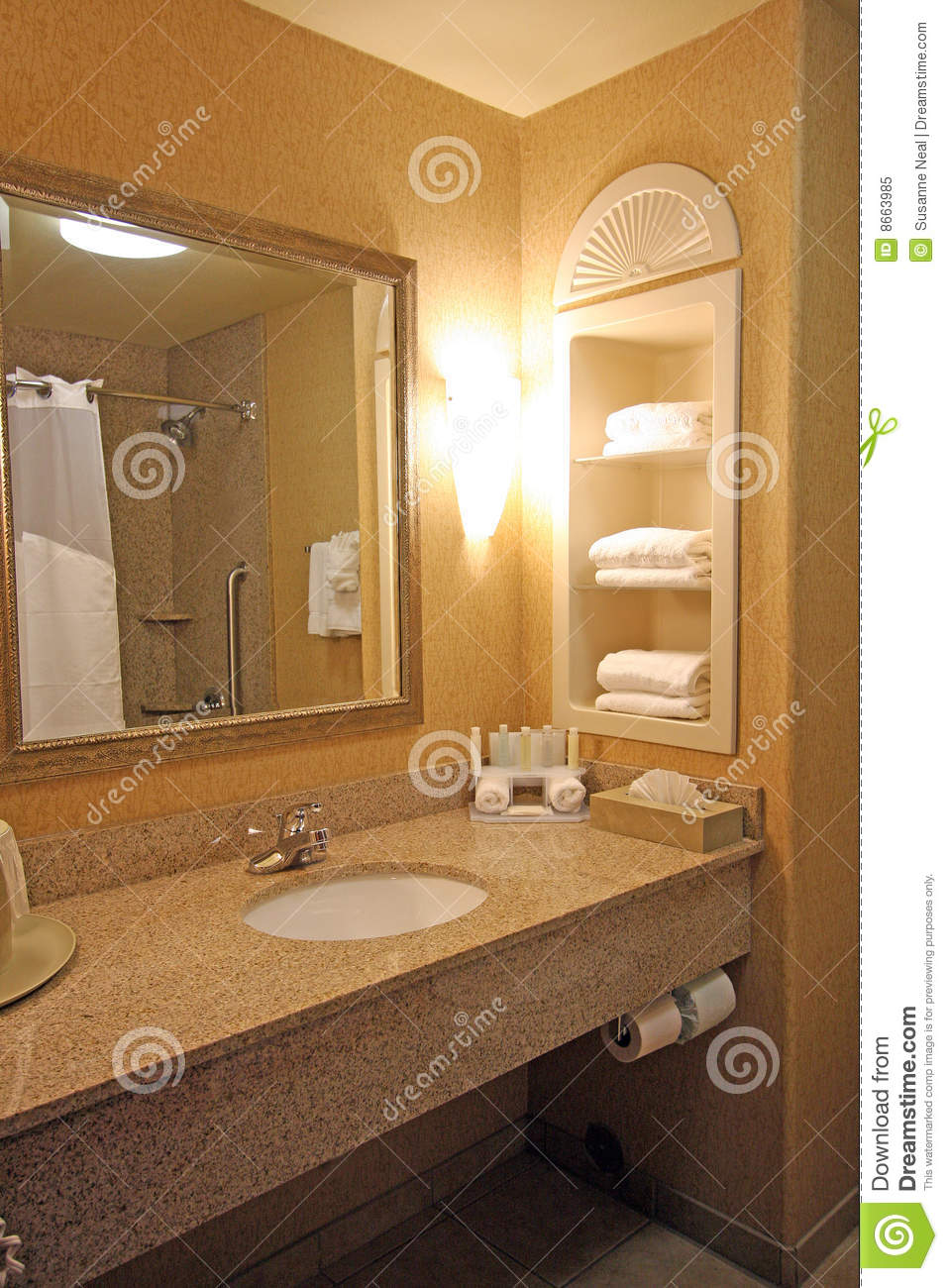 Hotel bathroom sink area stock image Image of faucet