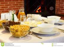Hotel Breakfast Fireplace Comfort Stock