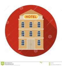 Hotel Building Icon In Flat Style Isolated White