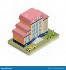 Hotel Building. Isometric 3d Pixel Design Icon Stock