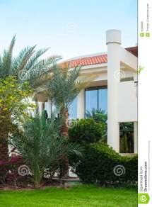 Hotel Facade In Egypt With Palm Trees Royalty-free Stock