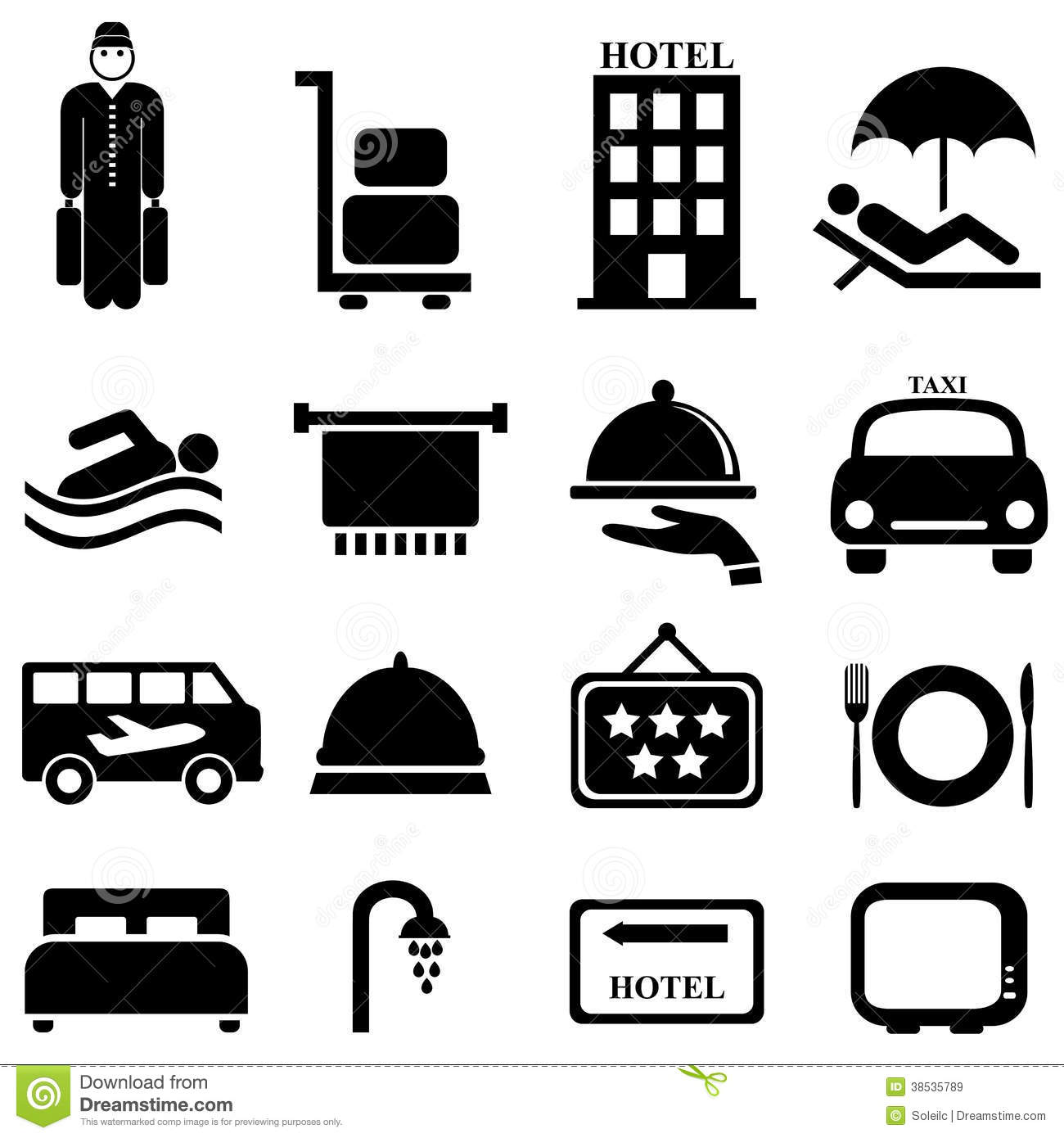 Hotel And Hospitality Icons Stock Vector