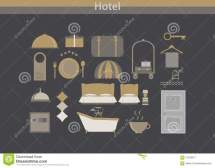 Vector Hotel Outline Icon Set. Elegant Thin Line Style