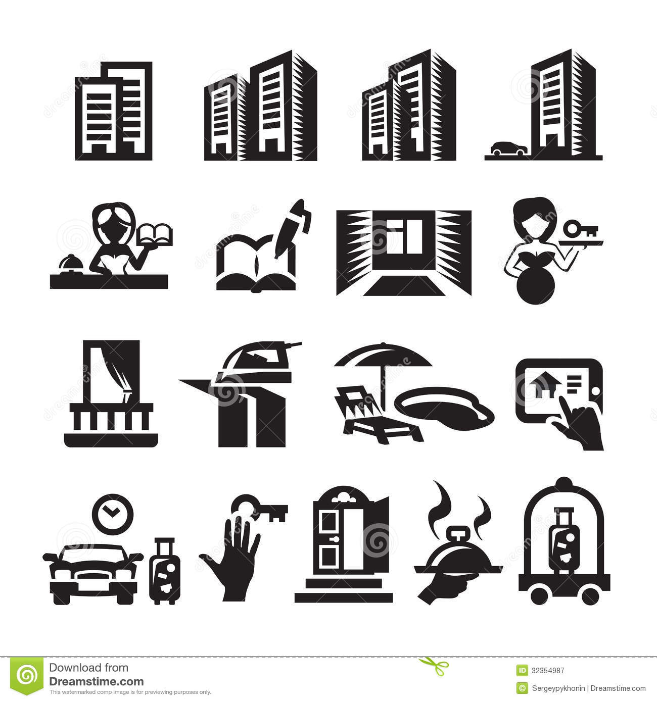 Hotel Icons Stock Vector Illustration Of Balcony Door