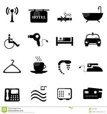 Hotel Icons In Black Stock Vector. Illustration Of Coffee