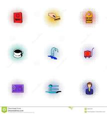 Hotel Icons Set Pop-art Style Stock Vector - 83952236