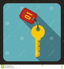 Hotel Key Icon Flat Style Cartoon Vector Cartoondealer