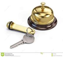 Hotel Key And Reception Bell Stock