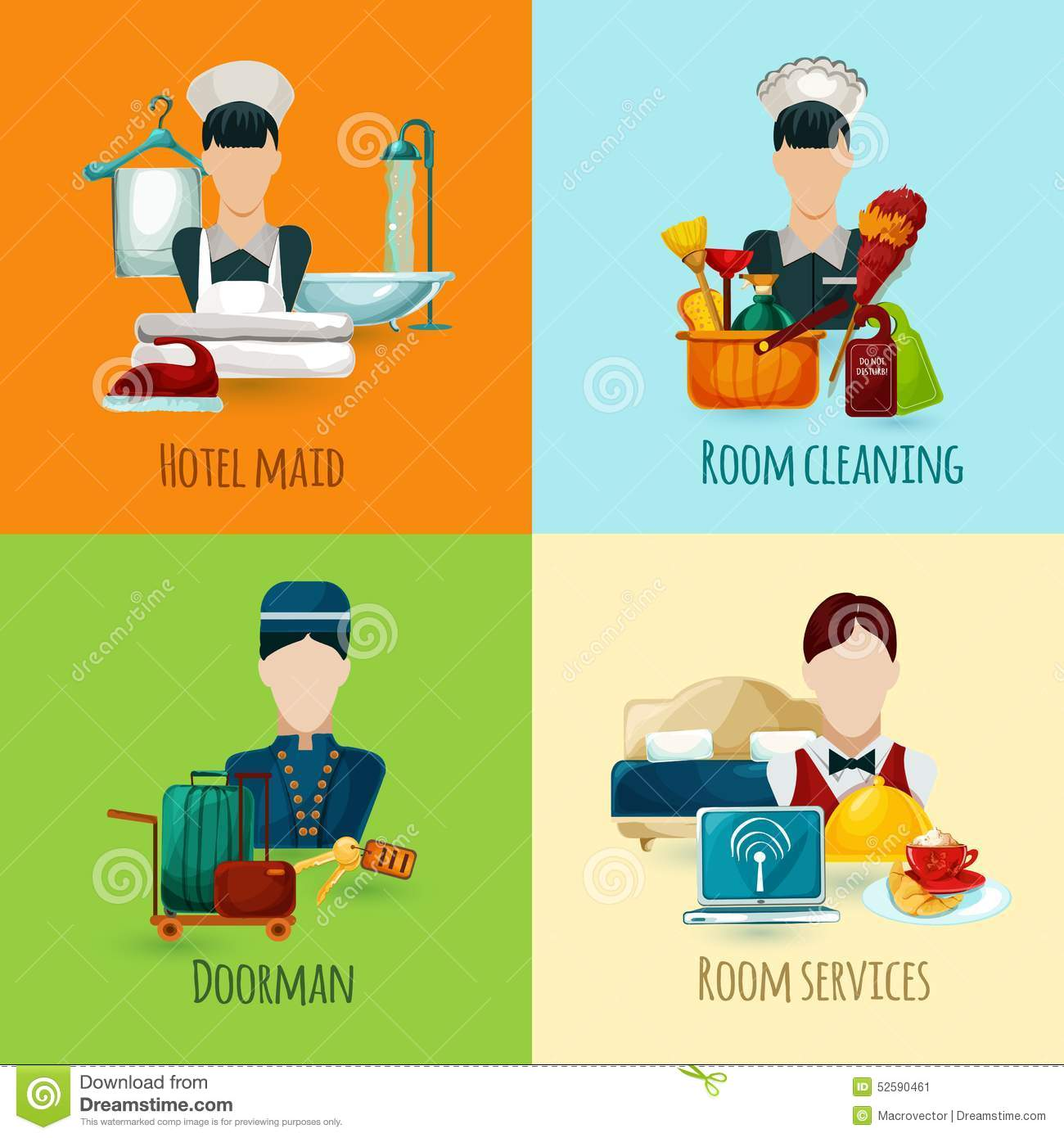 Hotel Maid Set stock vector Illustration of accommodation