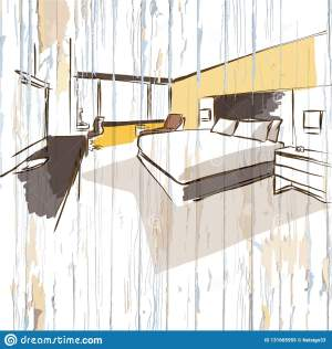 hotel wooden background drawing illustration vector