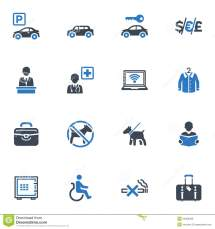 Hotel Services And Facilities Icons Set 1 - Blue Stock