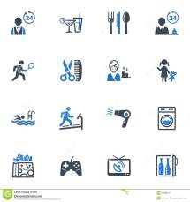 Hotel Services And Facilities Icons Set 2 - Blue Royalty