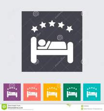 Hotel Single Flat Icon. Stock Vector. Illustration Of