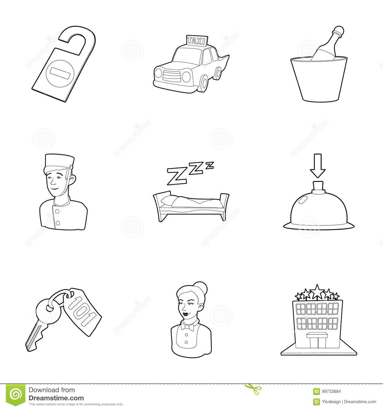 Hotel Staff Icons Set, Outline Style Stock Vector