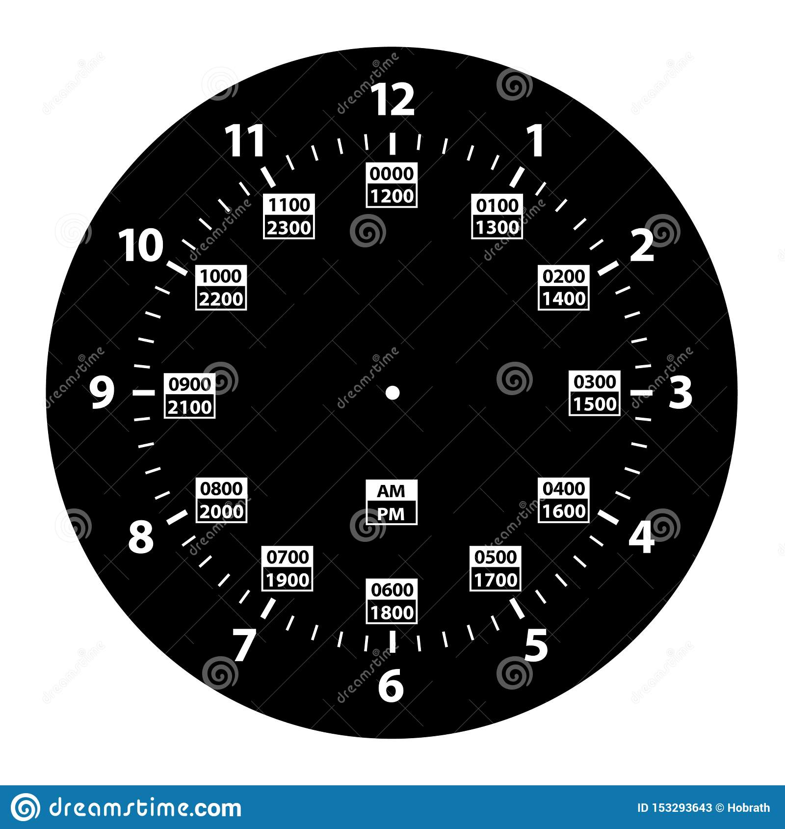 24 Hour Military Time And Standard Time Combo Clock Black