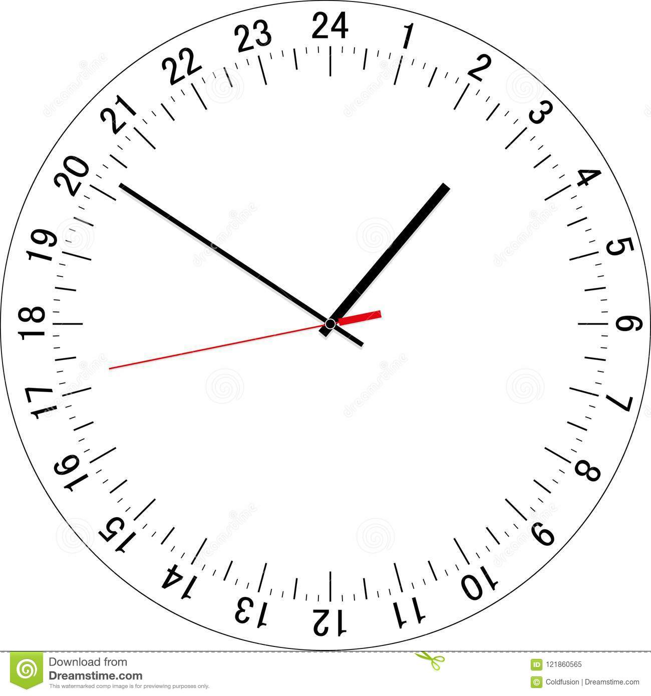 24 Hours Clock Dial. Vector Illustration Stock Vector