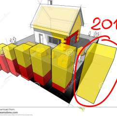 House Insulation Diagram Single Volume Pot Wiring With Additional And Business Hand 3d Illustration Of A Detached Wall Roof Drawn Note 2016 Over Last Bar Another