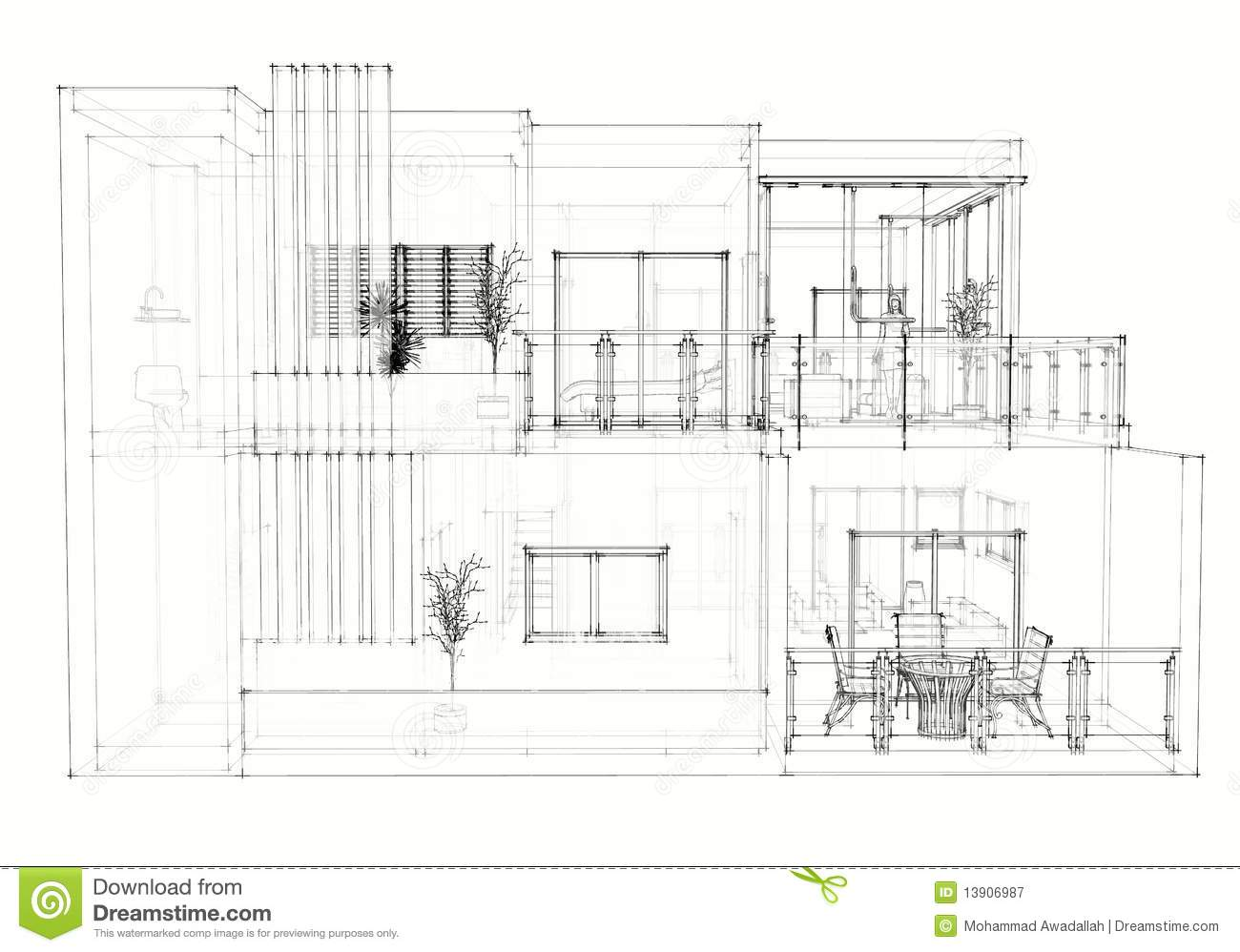 House Architectural Drawing Stock Illustration