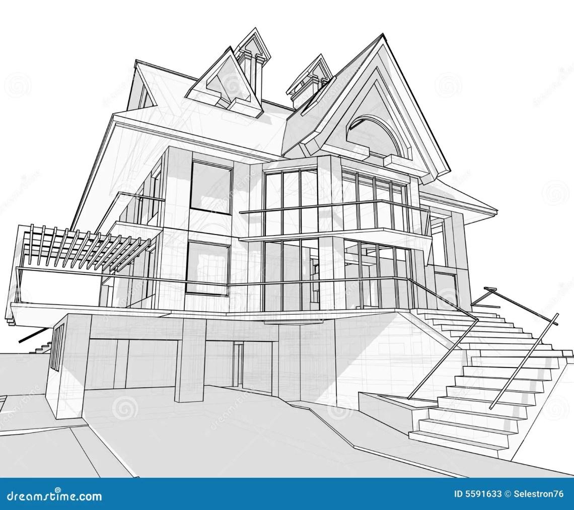 House Architecture Blueprint Stock Vector Illustration Of Flat Design 5591633