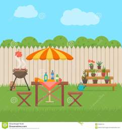 house backyard with grill outdoor picnic barbecue in patio flat style vector illustration [ 1300 x 1390 Pixel ]