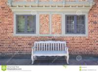 House Brick Exterior With Wood Bench Stock Photo - Image ...