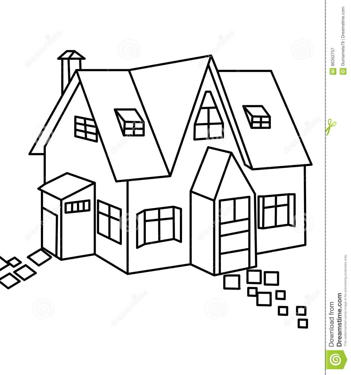 House coloring page stock illustration. Illustration of