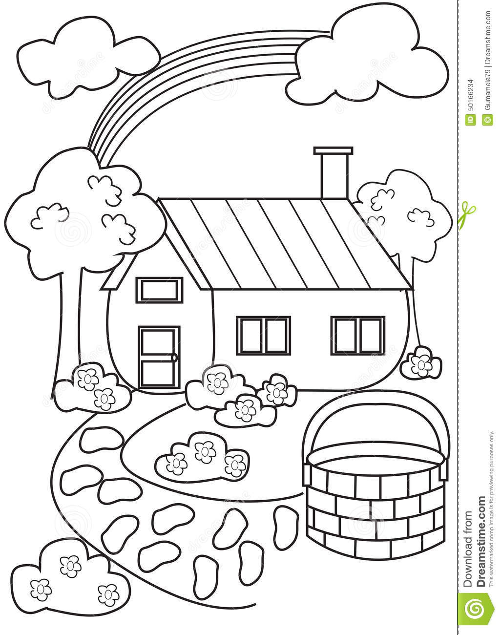 House coloring page stock illustration. Image of artwork