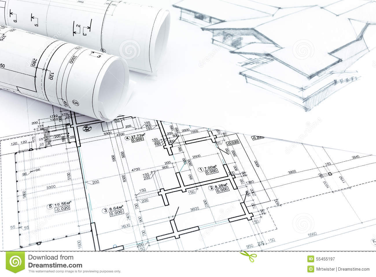 House Drawing With With House Plan Blueprints Stock Image