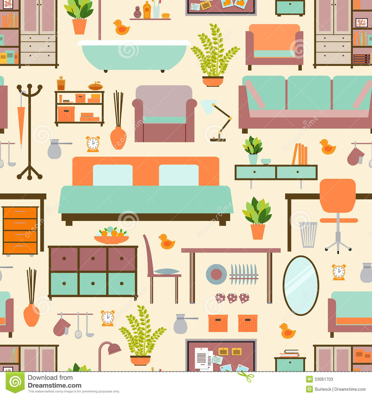 House Furniture Pattern Stock Vector Illustration Of