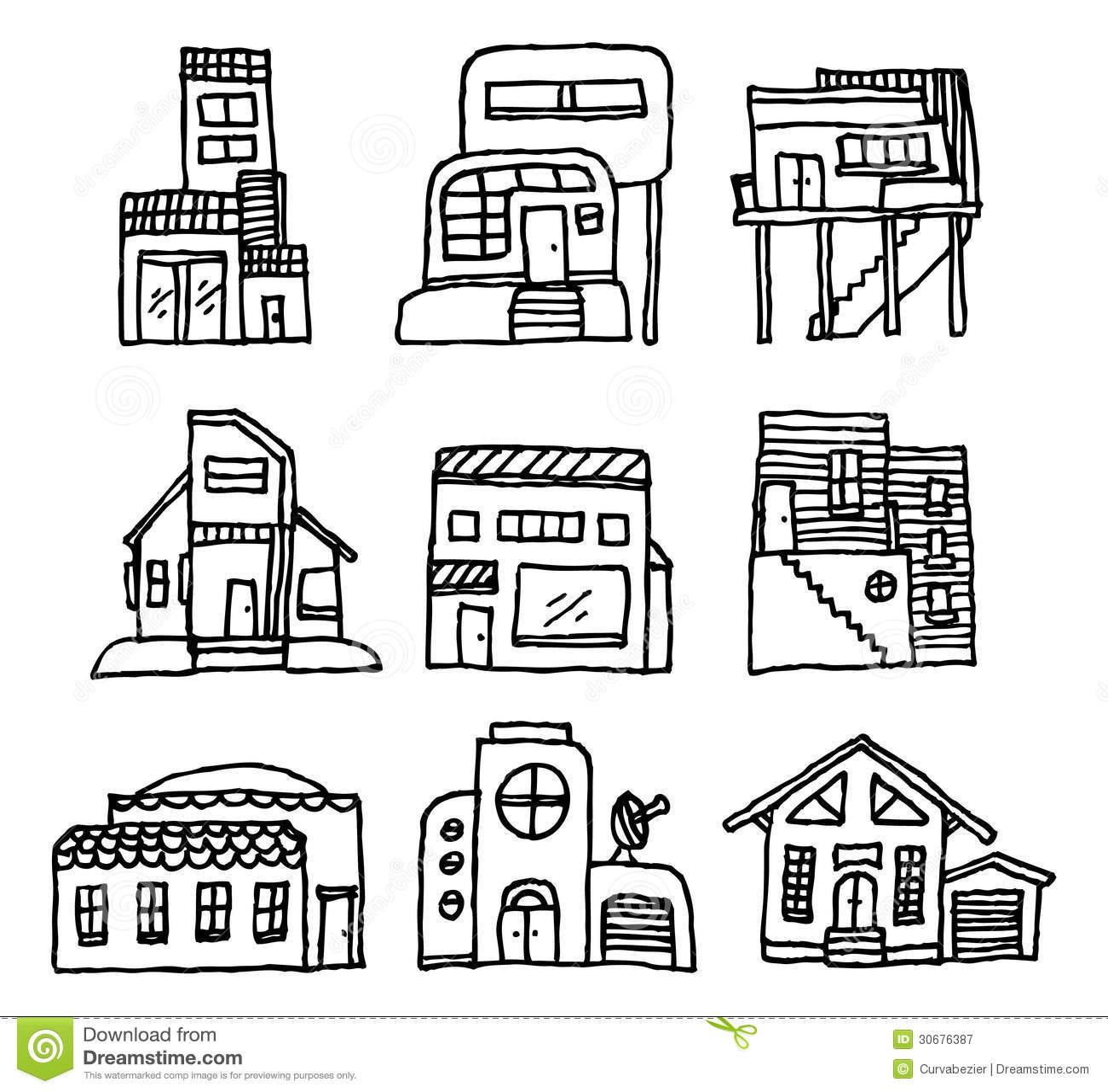 House Icon Set Architecture Royalty Free Stock