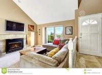 House Interior With High Vaulted Ceiling. Living Room With