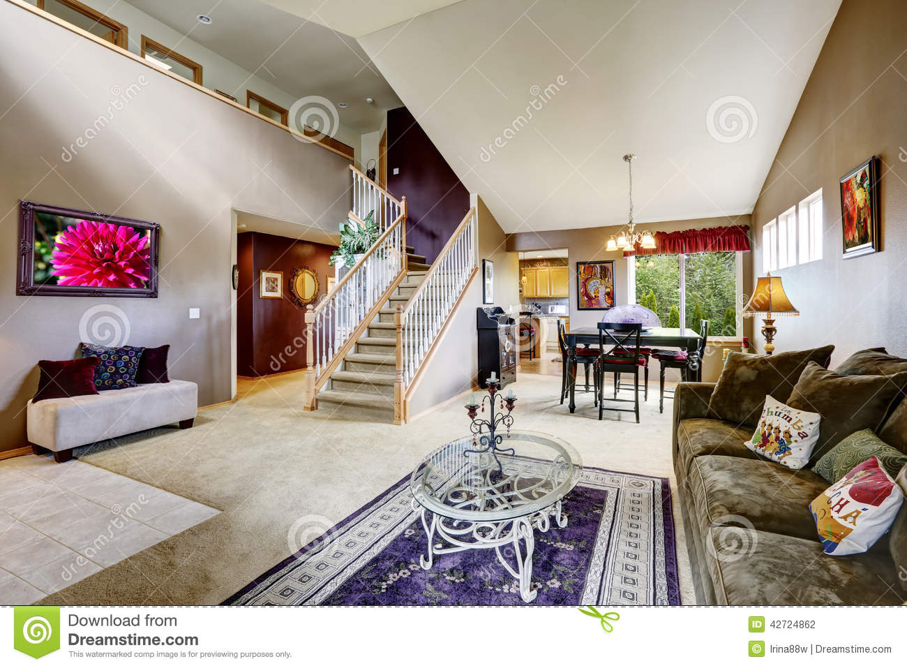 open plan staircase in living room 5th wheel toy haulers with front house interior floor high vaulted ceiling diining area and view